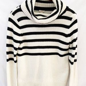 J. Crew white and black cowl neck sweater small